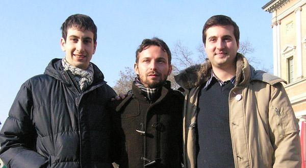 Giuseppe Favia, candidato Presidente per il MoVimento 5 Stelle alle prossime regionali Emilia Romagna, tra Davide Zanichelli e Luca Pecchini