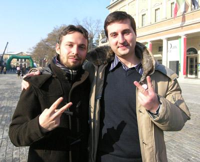 Giuseppe Favia (Candidato Presidente per il MoVimento 5 Stelle - regionali Emilia Romagna) e Luca Pecchini (Candidato consigliere per il MoVimento 5 Stelle - Regionali Emilia Romagna)